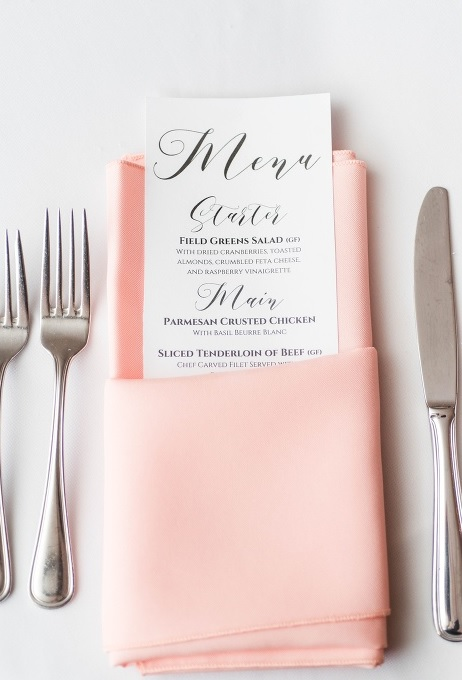 Baltimore Menu Card Wedding
